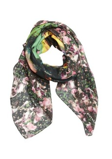 Givenchy pink and green floral and face printed cotton blend scarf