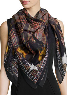 Givenchy Plaid Doberman Square Scarf