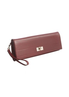 Givenchy red calfskin 'Shark' long wristlet clutch