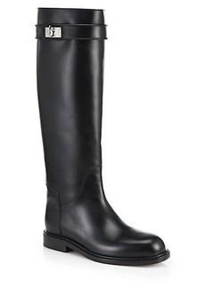 Givenchy Shark-Lock Leather Knee-High Boots