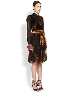 Givenchy Silk Flame Print Dress