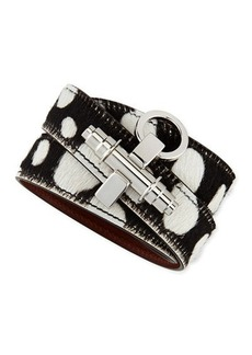 Givenchy Spotted Calf Hair Wrap Bracelet with Obsedia, Black/White
