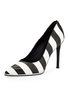 Givenchy Striped Leather Pump, Black/White