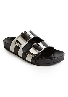 Givenchy Striped Leather Slide Sandals
