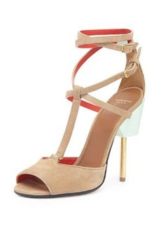 Givenchy Suede Crisscross Runway Sandal, Blue/Brown