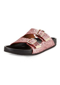 Givenchy Swiss Glitter Double-Buckle Sandal, Pink