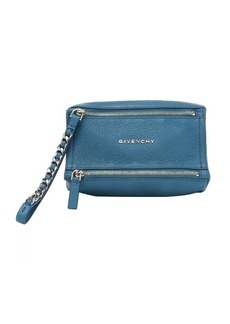 Givenchy teal blue goatskin 'Pandora' wristlet pouch