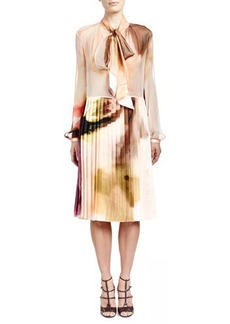 Givenchy Watercolor Silk Dress with Tie Neck & Pleated Skirt