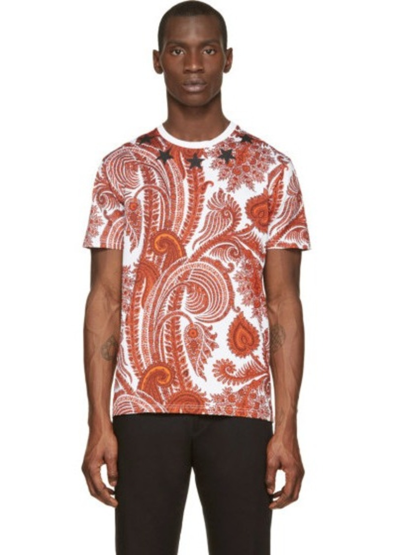 givenchy givenchy white orange paisley peint t shirt t shirts shop it to me. Black Bedroom Furniture Sets. Home Design Ideas