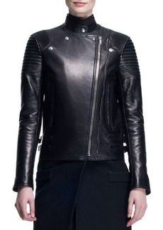 Givenchy Wool/Leather Long Moto Coat