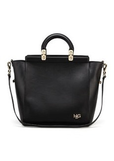 HDG Top Handle Small Leather Tote Bag, Black   HDG Top Handle Small Leather Tote Bag, Black