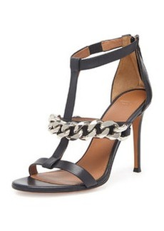 Leather Chain T-Strap Sandal, Black   Leather Chain T-Strap Sandal, Black