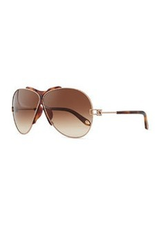 Metal Aviator Sunglasses, Havana   Metal Aviator Sunglasses, Havana