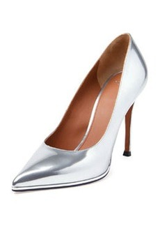 Metallic Leather Point-Toe Pump, Silver   Metallic Leather Point-Toe Pump, Silver
