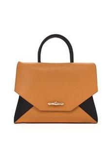 Obsedia Top-Handle Medium Leather Satchel Bag, Black/ Brown   Obsedia Top-Handle Medium Leather Satchel Bag, Black/ Brown