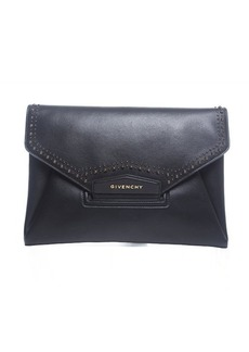 Pre-Owned Givenchy Black Leather Studded Antigona Clutch