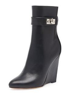 Shark Lock Wedge Ankle Boot, Black   Shark Lock Wedge Ankle Boot, Black