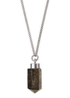 Silvertone Pyrite Pendant Necklace   Silvertone Pyrite Pendant Necklace