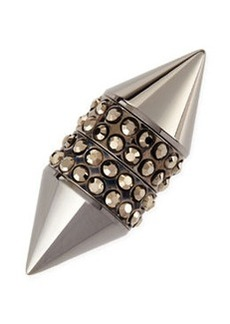 Single Dark Ruthenium Small Double Cone Magnetic Shark Earring with Crystals   Single Dark Ruthenium Small Double Cone Magnetic Shark Earring with Crystals