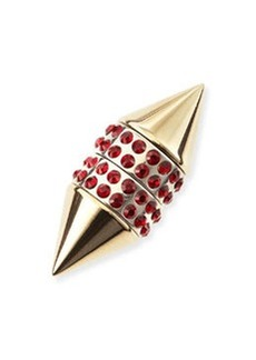 Single Small Double Cone Magnetic Shark Earring with Red Crystals   Single Small Double Cone Magnetic Shark Earring with Red Crystals