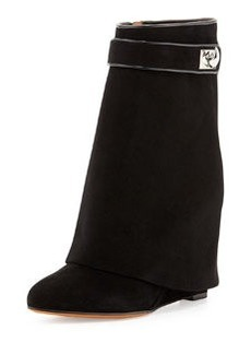 Suede Shark-Lock Fold-Over Ankle Boot, Black   Suede Shark-Lock Fold-Over Ankle Boot, Black
