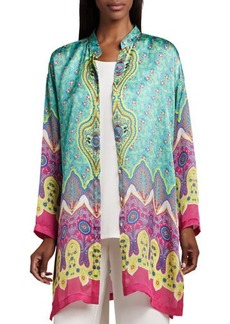 Go Silk Allover Print Silk Jacket  Allover Print Silk Jacket