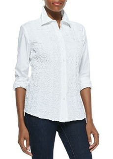 Go Silk Button-Down Side-Paneled Pucker Shirt