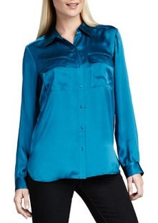 Go Silk Charmeuse Button-Front Blouse, Petite