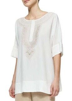 Go Silk Embroidered Silk Tunic, Petite