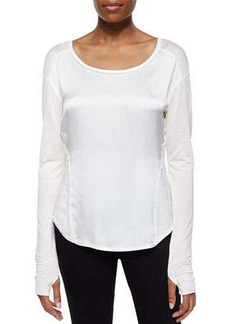 Go Silk Glovette-Sleeve Silk-Cotton Tee, White