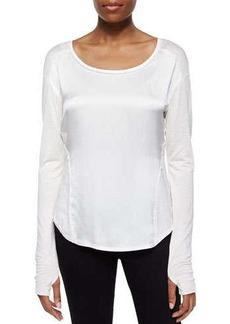 Go Silk Glovette-Sleeve Silk-Cotton Tee, White