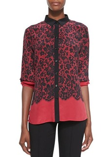 Go Silk Lace-Print Silk Blouse, Red