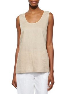Go Silk Linen Scoop-Neck Tank, Sesame, Women's