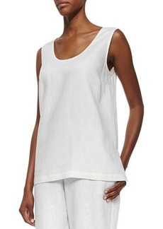 Go Silk Linen Scoop-Neck Tank, White, Women's
