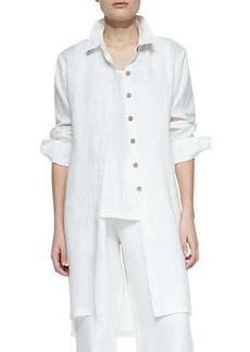 Go Silk Long-Sleeve Linen Duster, Petite