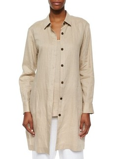 Go Silk Long-Sleeve Linen Duster Jacket, Sesame, Petite