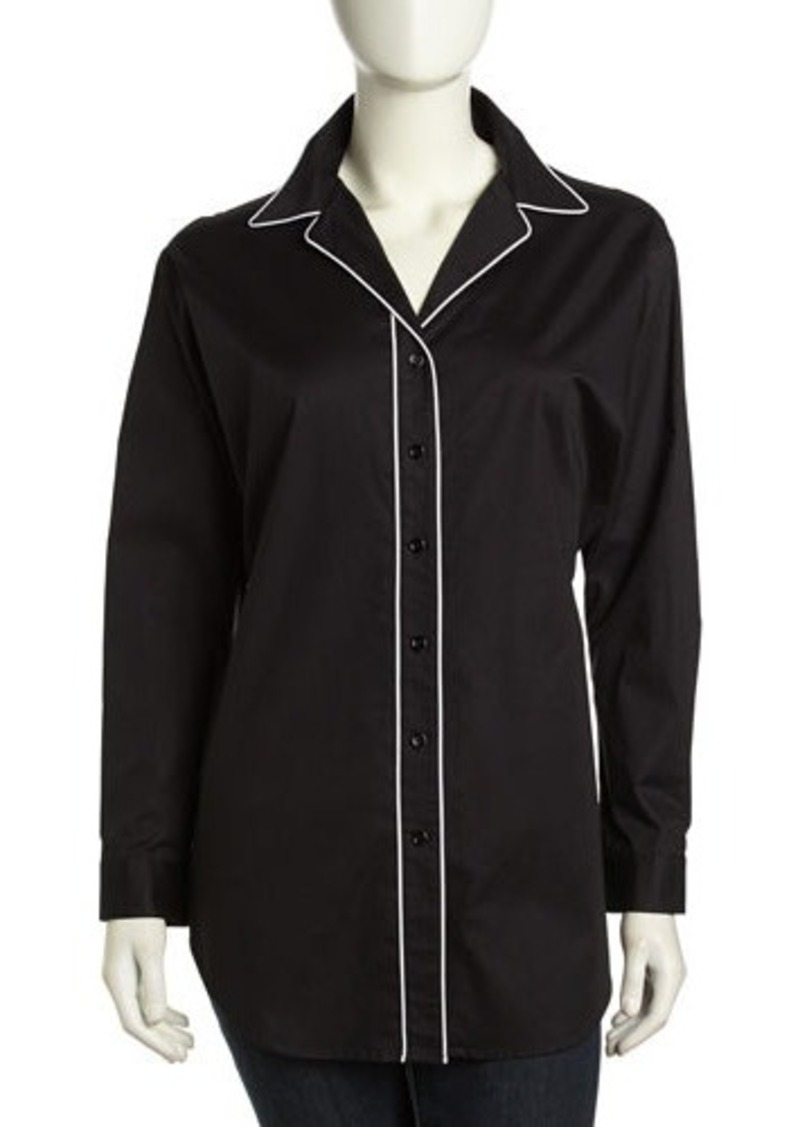 Go Silk Long-Sleeve Oversized Piped Button-Front Shirt