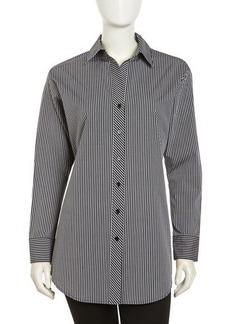 Go Silk Long-Sleeve Striped Poplin Blouse