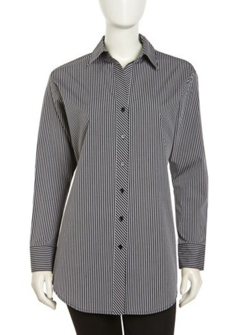 Go Silk Long-Sleeve Striped Poplin Blouse