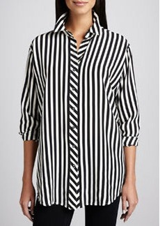 Go Silk Long Striped Silk Blouse