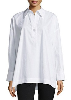 Go Silk Oversize Stretch One-Button Shirt  Oversize Stretch One-Button Shirt