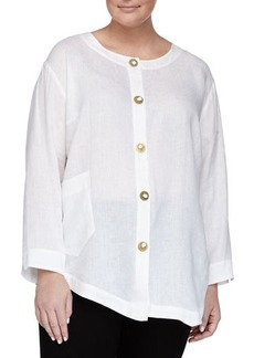Go Silk Plus Asymmetric Linen Novelty-Button Tunic