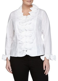 Go Silk Plus Bow-Trim Poplin Shirt