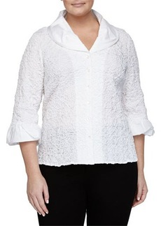 Go Silk Plus Crinkle-Stitched Stretch Poplin Shirt