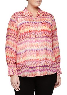 Go Silk Plus Flame-Print Silk Blouse