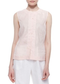 Go Silk Plus Linen Button-Front Shell