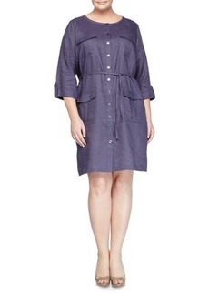 Go Silk Plus Linen Military Shirtdress