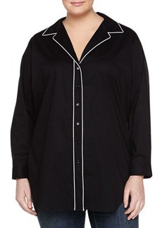 Go Silk Plus Long-Sleeve Button-Down Poplin Blouse