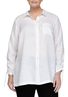 Go Silk Plus Long-Sleeve Linen Button-Front Blouse
