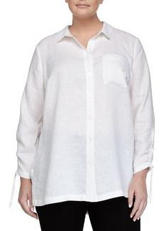 Go Silk Plus Long-Sleeve Linen Button-Front Blouse